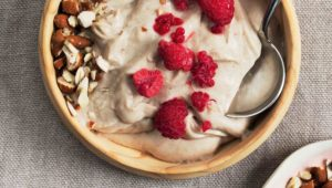 Whipped buckwheat porridge with raspberries and almonds