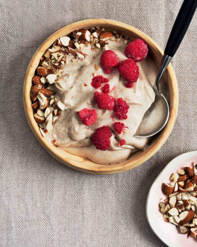 Whipped buckwheat porridge with raspberries and almonds