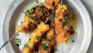 Cornflake-coated tripe kebabs