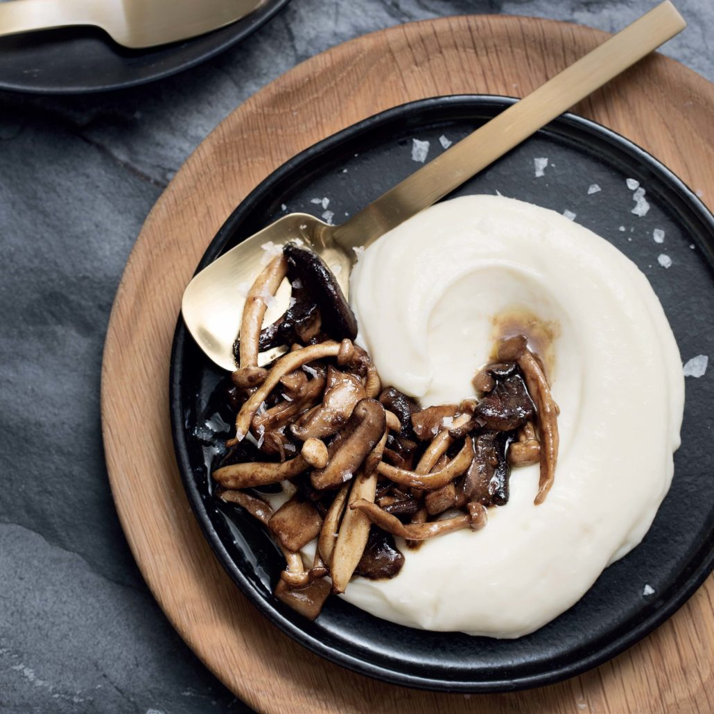 Exotic mushrooms with potato purée
