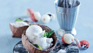 Litchi and coconut ice cream