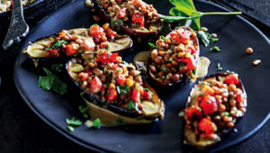 Roast brinjal with lentil salad and tahini