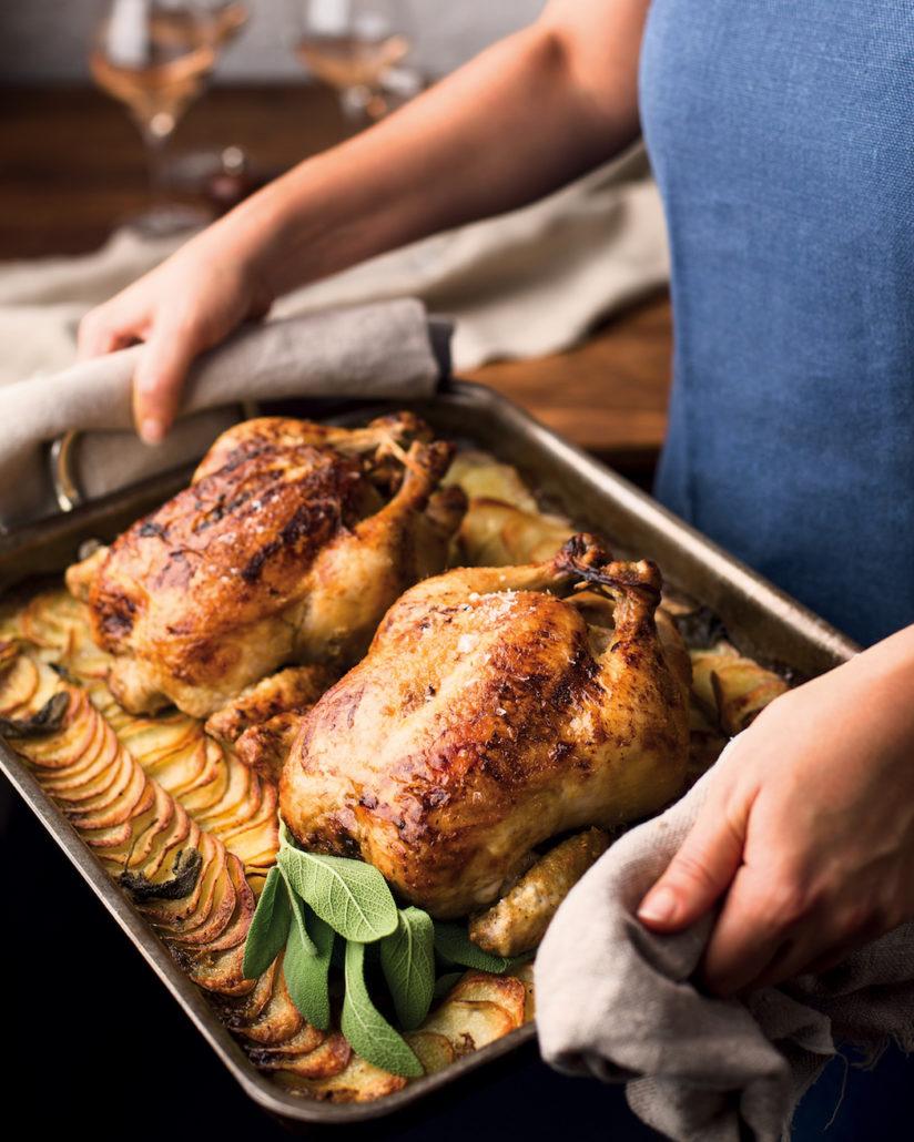 Mustardy roast chicken and potato bake