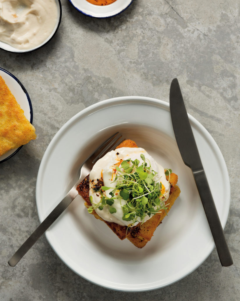 Polenta toast with tahini yoghurt
