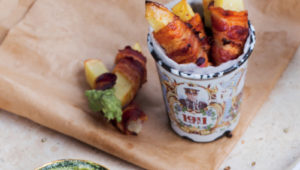 Bacon-wrapped wedges