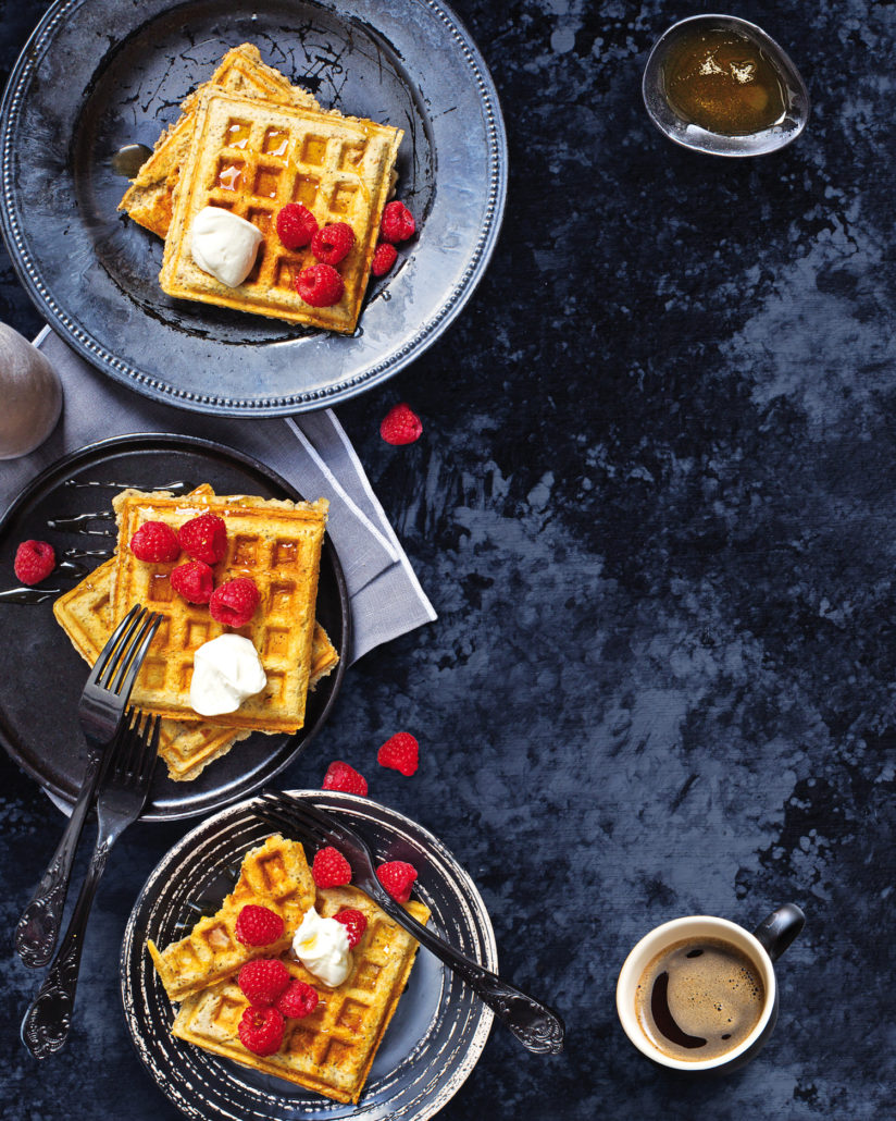 Wholewheat waffles with cottage cheese and raspberries