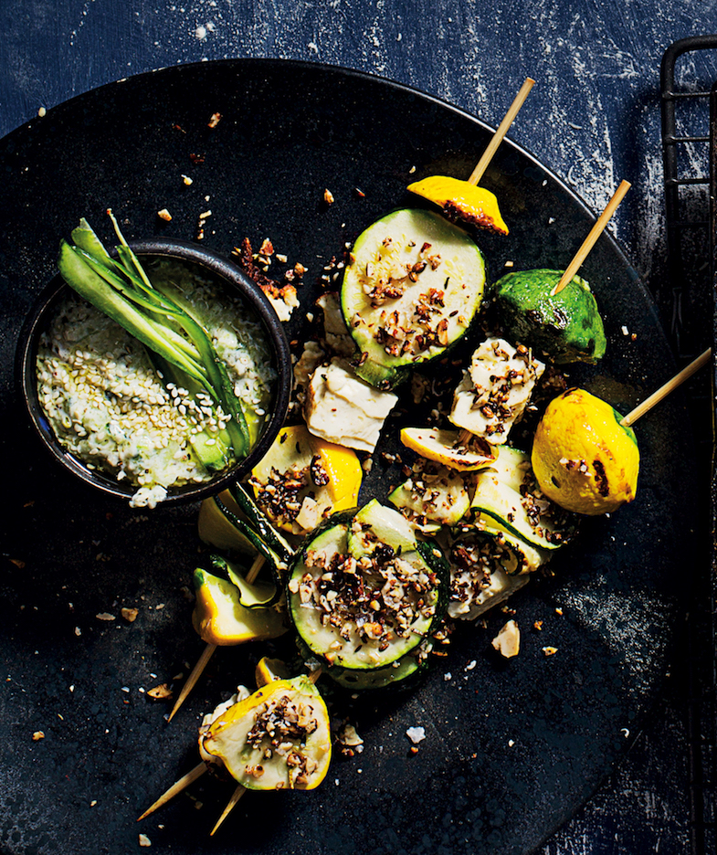 Squash kebabs with dukkah and tzatziki