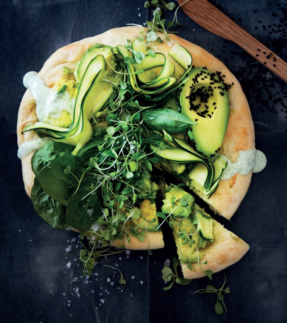 The ultimate healthy green pizza with green tea dressing