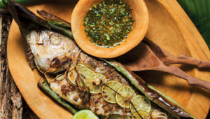Whole baked fish with chilli sauce