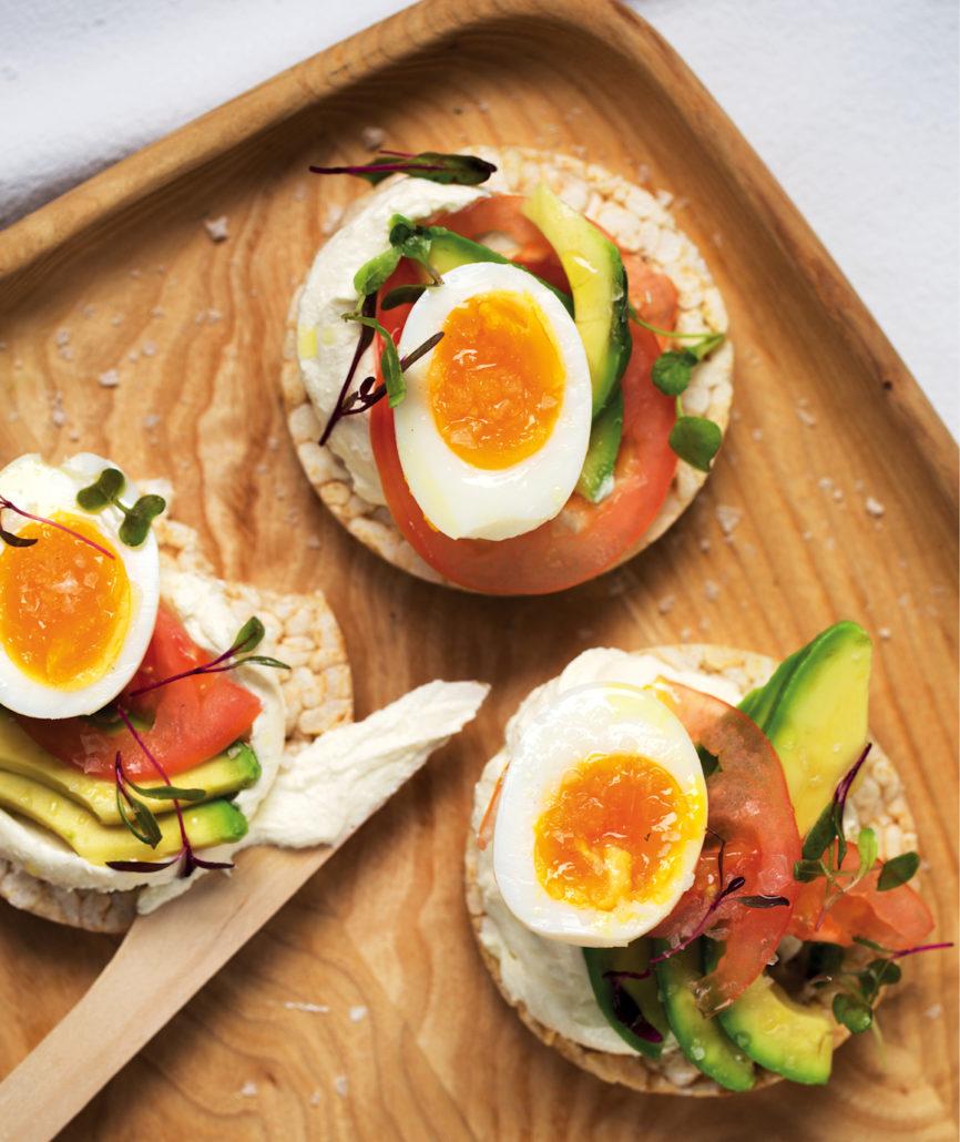 Egg, avocado and tomato rice-cake stacks