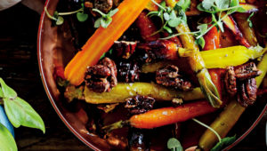 Marmalade-glazed carrots with candied pecans