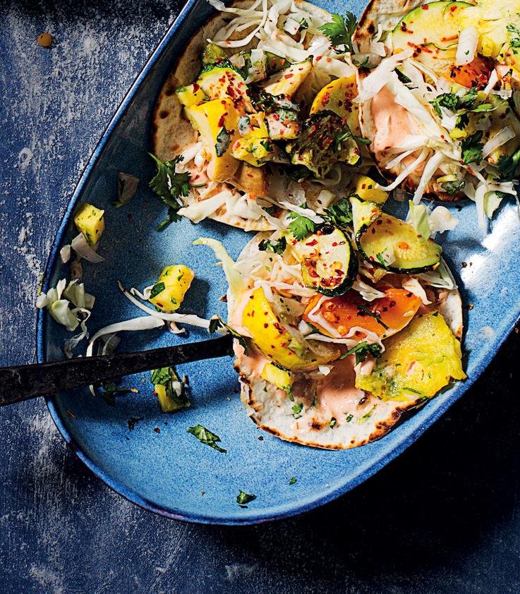 Rainbow-squash tortillas
