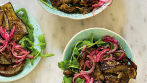 Red onion and grilled brinjal salad