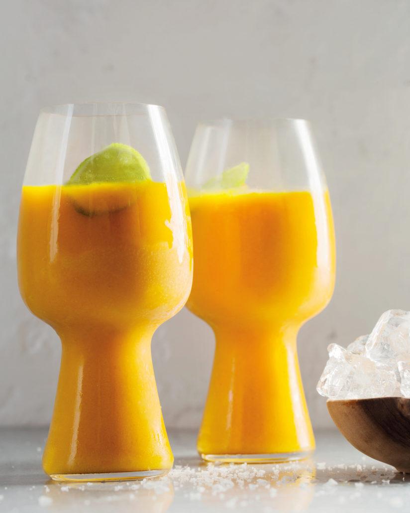 Salted mango and vodka slushies