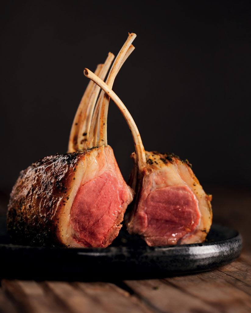 Stone fruit roasted lamb rack