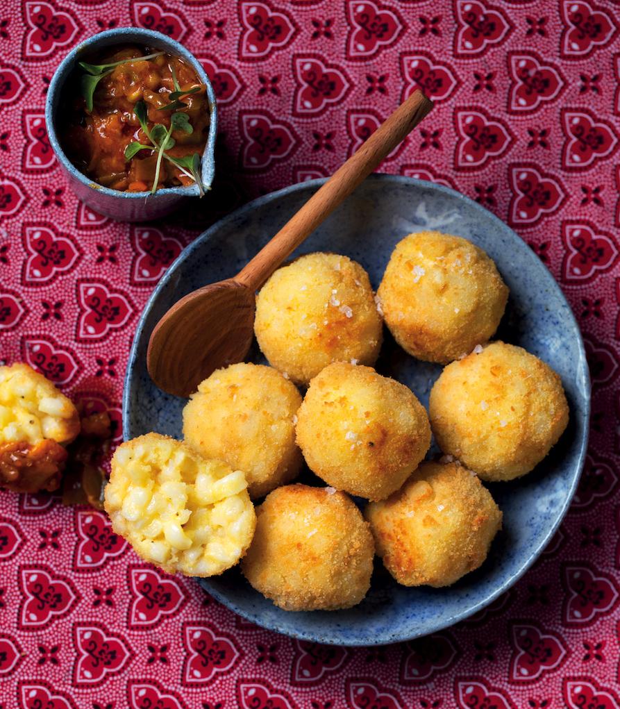 Deep-fried samp and cheese balls