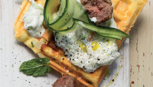 Frittata waffles with meatballs and tzatziki