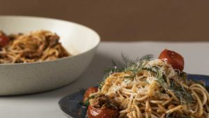 Roasted tomato and sardine pasta