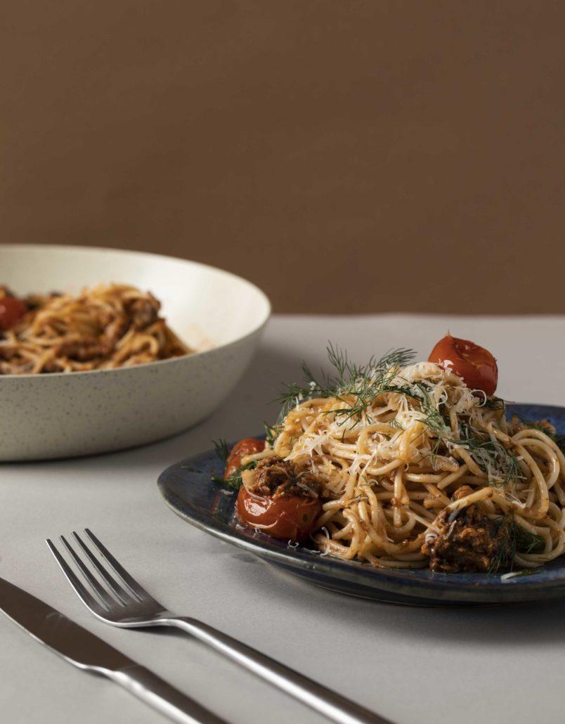 Roasted tomato and sardine pasta