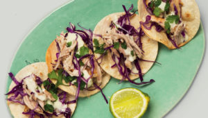Open-pulled chicken tacos