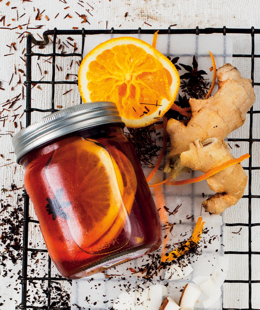 Spiced rooibos tea with ginger, star anise and orange