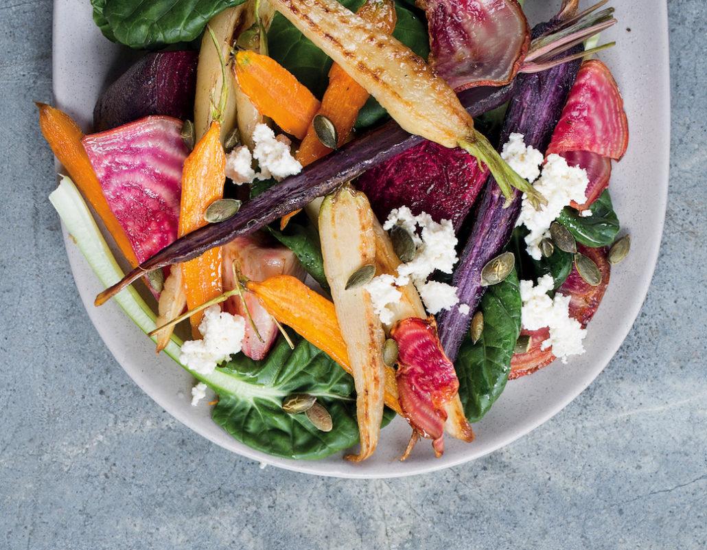Colourful roast vegetable salad