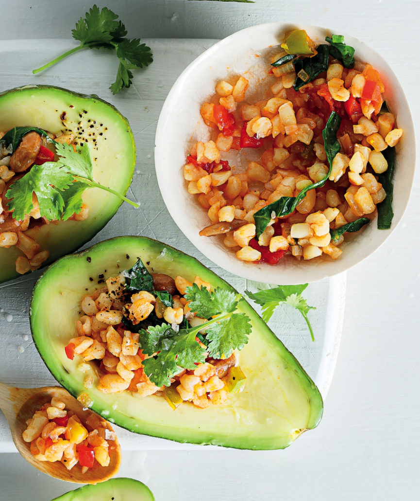 Avocados stuffed with curried samp and beans