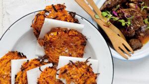 BBQ chicken livers with rosti