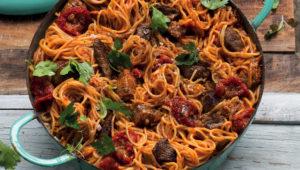 Beefy spaghetti arrabiata
