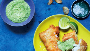 Fish and chips with pea dip