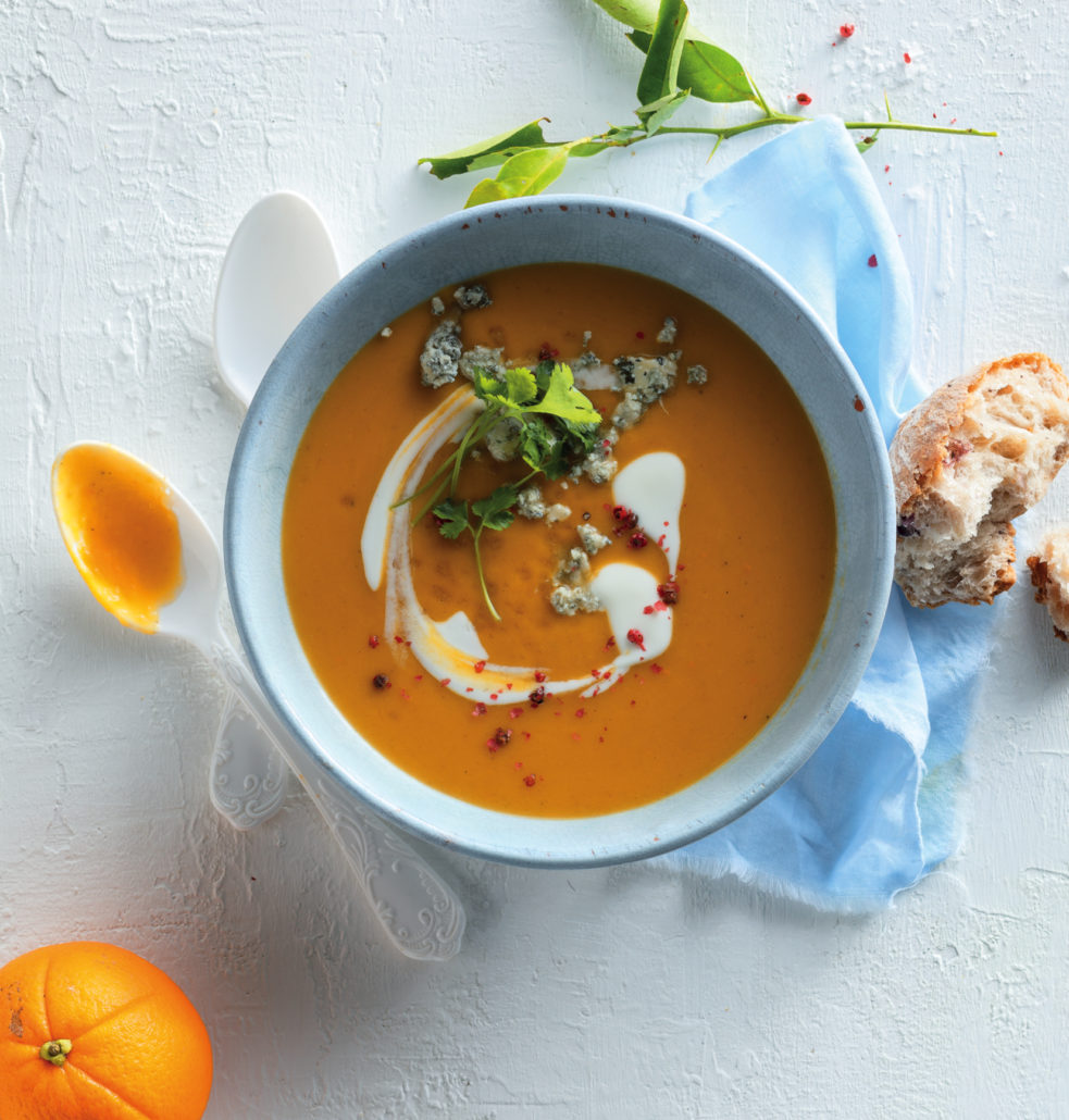 Orange and butternut soup with blue-cheese crumble
