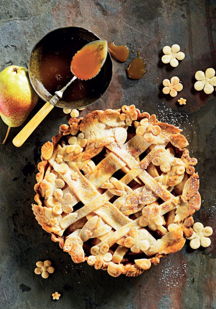 Salted caramel and pear tart