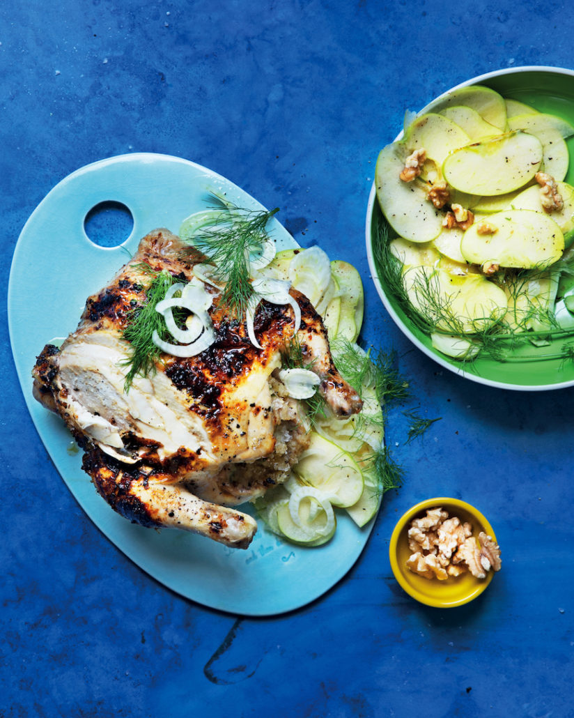 Charred chicken with apple slaw