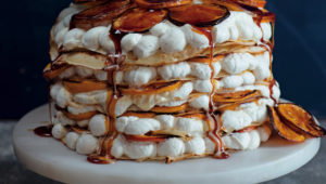 Pancakes with rooibos-poached oranges and spiced cream