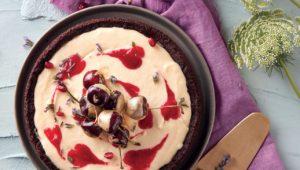 Raspberry swirl cheesecake with gold-dipped cherries
