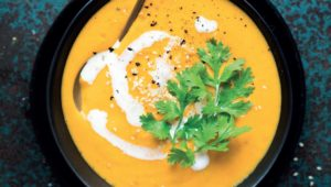 Roast carrot soup with ginger and lemon grass