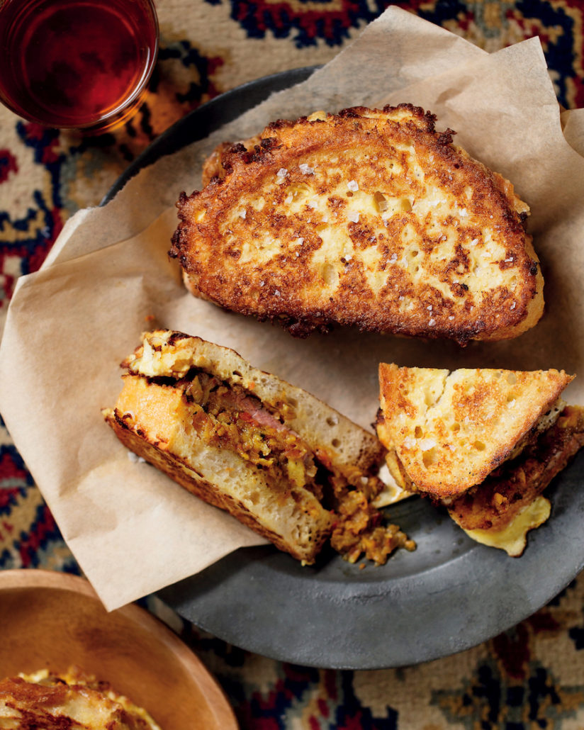 French toast with masala steak