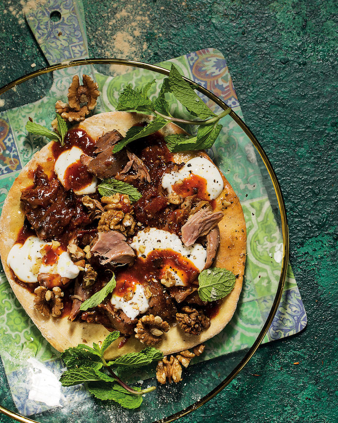 Slow-cooked lamb pizzas
