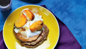 Banana flapjacks with stewed peaches