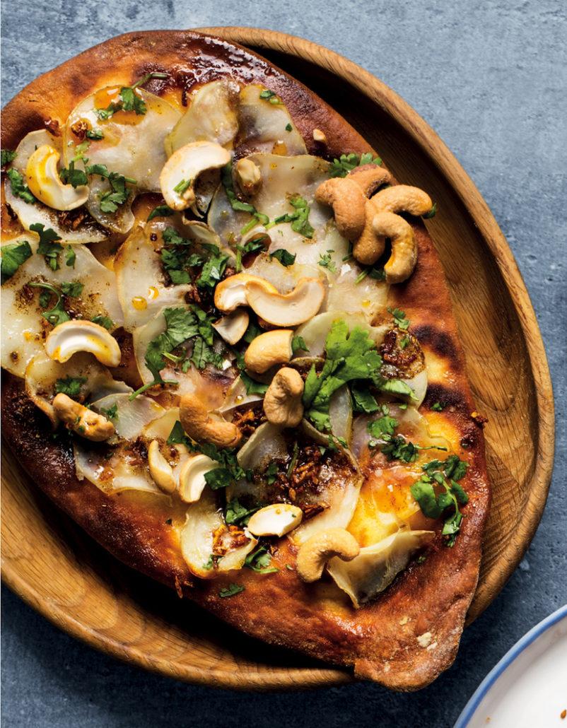 Leftover naan masala Potato pizza