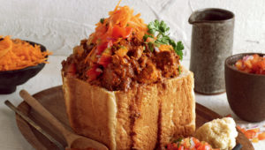 Mutton curry bunny chow