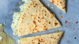 Brocamole quesadillas