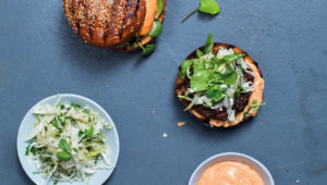 Beef burgers with spicy mayo and pickled slaw