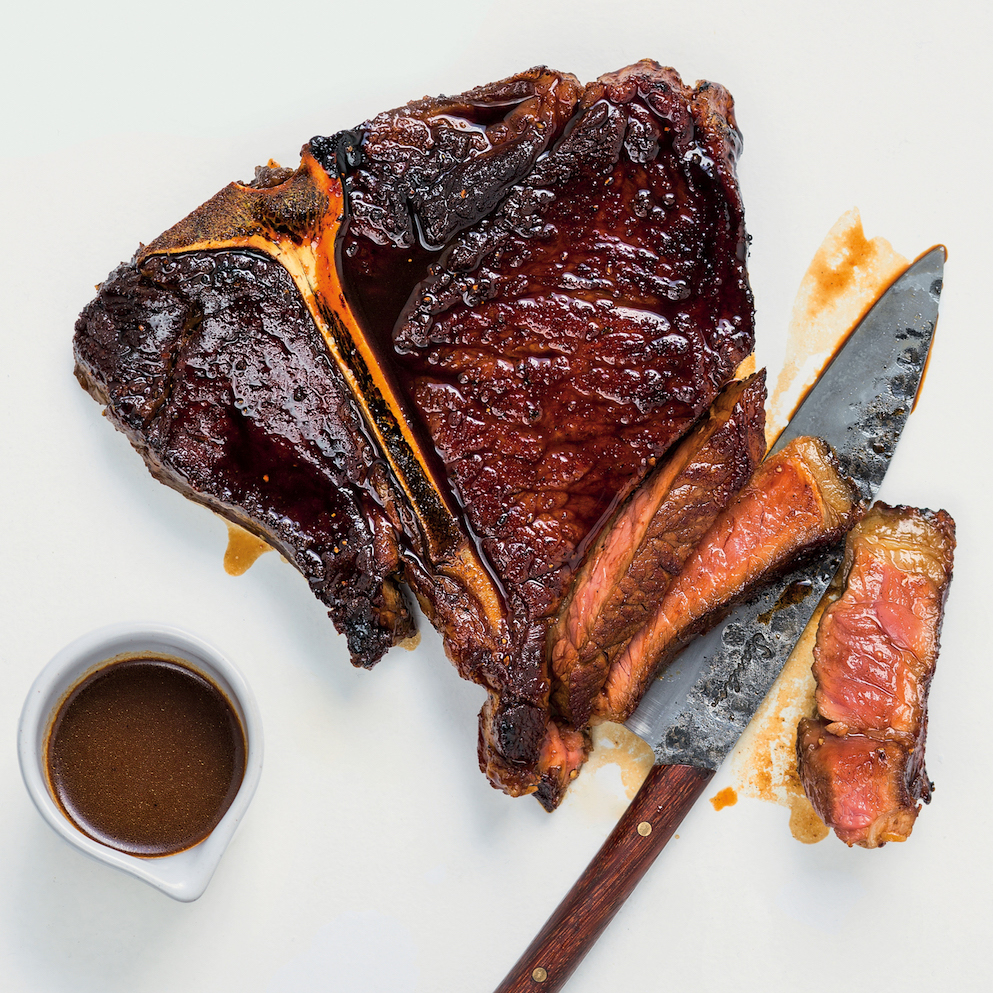 Marmite-glazed T-bone steaks