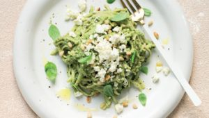 Spaghetti with maca pesto