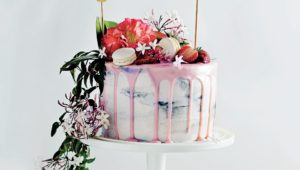 Watercolour vanilla cake with buttercream icing