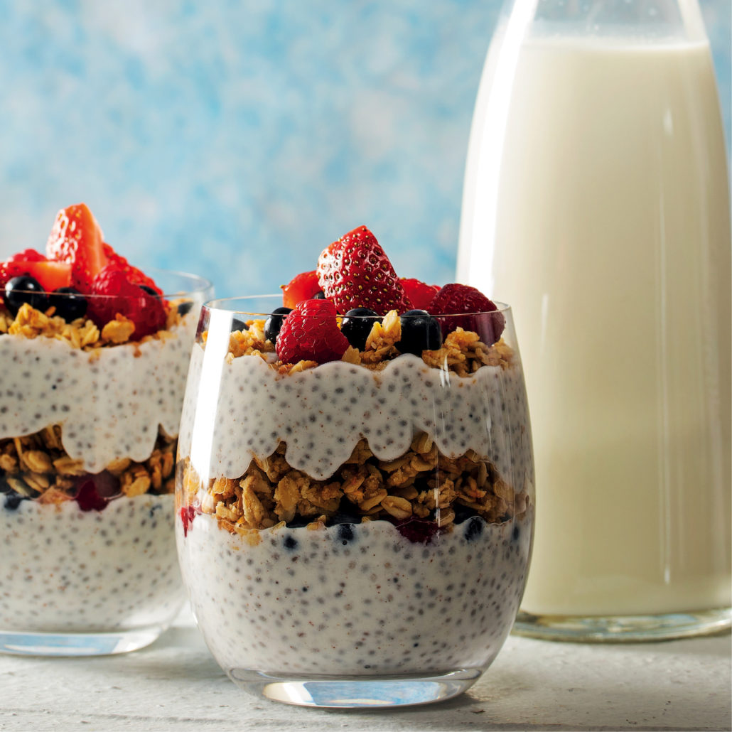 Yoghurt and chia seed breakfast puddings