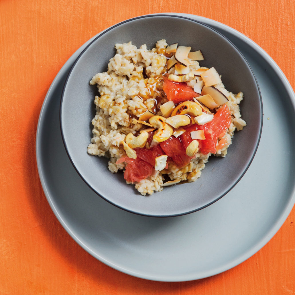 Coconut and grapefruit oatmeal breakfast bowl