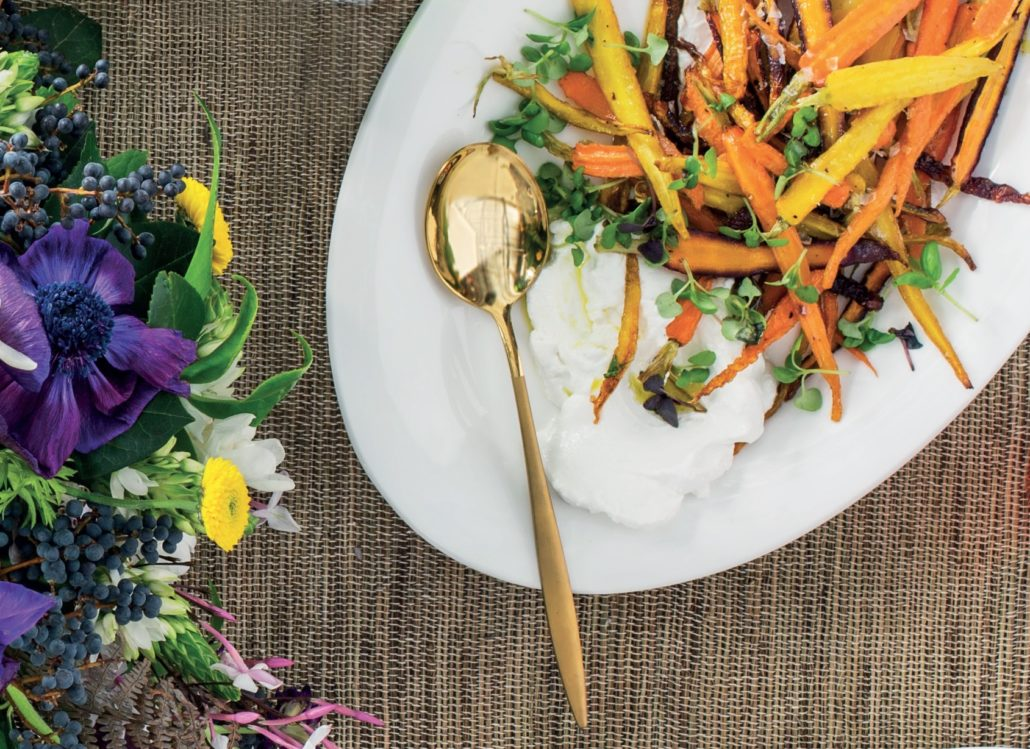 Crispy carrots with home-made goat's cheese