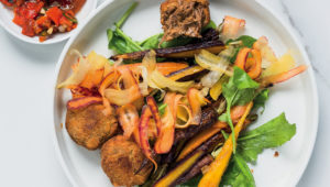 Crushed carrot salad with brisket croquettes